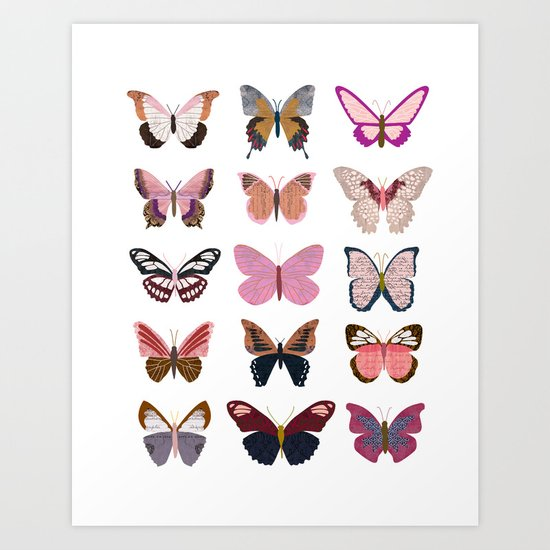 Pink Butterfly Collage Art Print