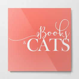 Books and Cats V6 Metal Print