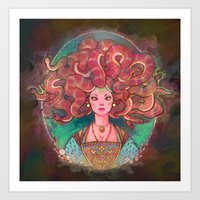 medusa Art Prints featuring Medusa by Kindra Haugen
