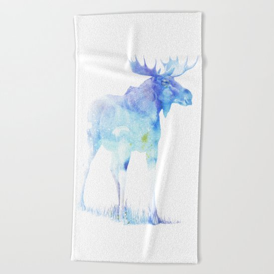 Blue Watercolor Moose Beach Towel