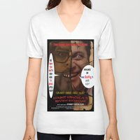 minions V-neck T-shirts featuring Kount Kracula's Review Showcase -TV Show Promo Poster  by Tex Watt