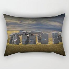 Sunset at Car Henge in Alliance Nebraska Modeled after England's Stonehenge Rectangular Pillow