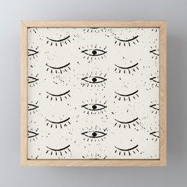 Hand drawn ethnic eyes pattern with grunge background Framed Mini Art Print