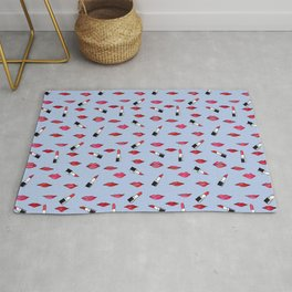 Lips and lispticks pattern in clear background Rug