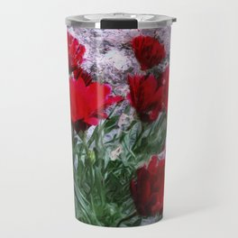 African Daisies Red With Wall Watercolor Travel Mug