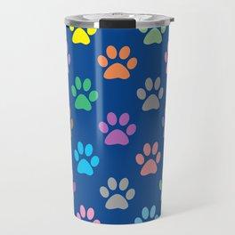Colorful paw prints pattern Travel Mug