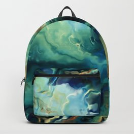 Marbled Ocean Abstract, Navy, Blue, Teal, Green Backpack