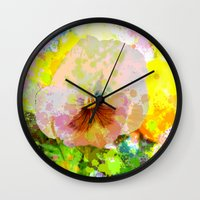 water colour Wall Clocks featuring Artistic Water colour Pansy by thea walstra