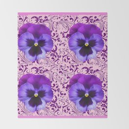 PINK ART &  LILAC PURPLE PANSY SPRING FLORAL PATTERN Throw Blanket