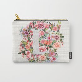 Initial Letter L Watercolor Flower Carry-All Pouch