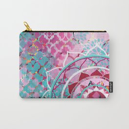 Pink and Turquoise Mixed Media Mandala Carry-All Pouch