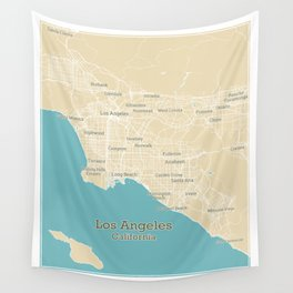Los Angeles Stylish Functional City Map Wall Tapestry