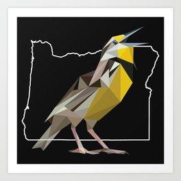 Oregon – Western Meadowlark (Black) Art Print