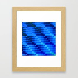 Buildings At Night In Blue Modern Abstract Framed Art Print