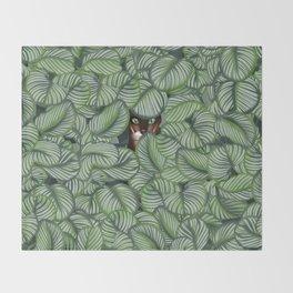 Bengal cat and Calathea orbifolia Throw Blanket