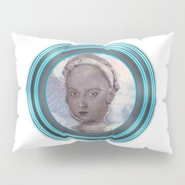 The Time Traveler and the Neon Blue Portal of Future Past Pillow Sham