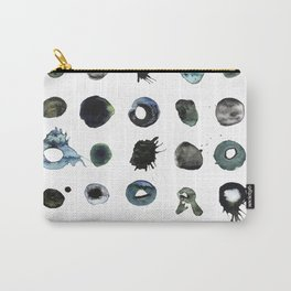 Blue Splats and Blobs. Watercolor and Ink. Abstract Art, Contemporary Art, Square Print, Minimal. Carry-All Pouch