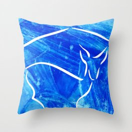 Winter mood with deer Throw Pillow