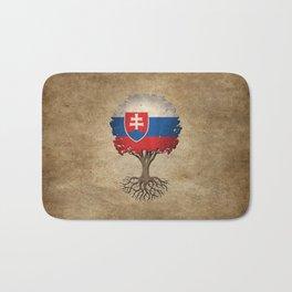 Vintage Tree of Life with Flag of Slovakia Bath Mat