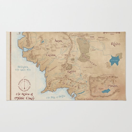 Map of Middle Earth Rug by Kaz Palladino – Map of Middle Earth