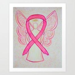 Pink Breast Cancer Awareness Ribbon Angel Art Painting Art Print
