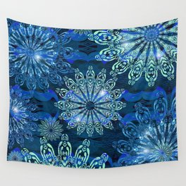 Blue Christmas Wall Tapestry