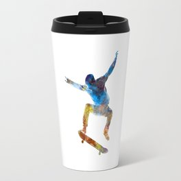 Man skateboard 01 in watercolor Travel Mug