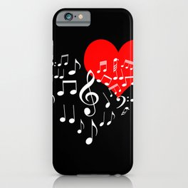 Singing Heart White On Black iPhone Case