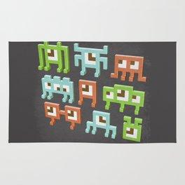 3D pixel aliens Rug