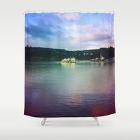 chile Shower Curtains featuring Al sur de Chile by Viviana Gonzalez