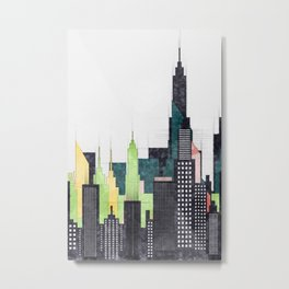 American City Skyline With Buildings And Skyscrapers Metal Print