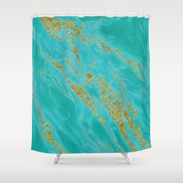 Luxury and glamorous gold glitter on aqua Sea marble Shower Curtain