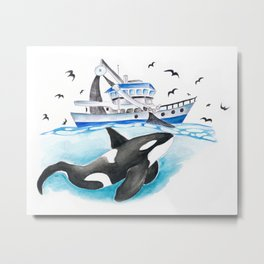 Orca And The Boat Metal Print