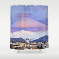 nasa Shower Curtains featuring NASA APOD. ASTRONOMY PICTURE OF THE DAY! Lenticular clouds over Granada and Sierra Nevada at sunset by Guido Montañés