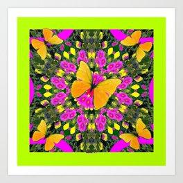 Modern Yellow Butterfly Chartreuse-Green Pattern Pink Art Art Print