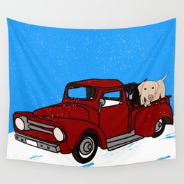 Best Labrador Buddies In Old Red Truck Wall Tapestry