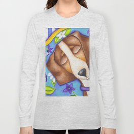 Happy Dreams Dachshund Dog Original Art Long Sleeve T-shirt