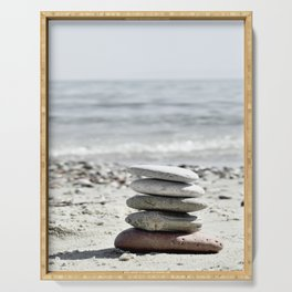 Balancing Stones On The Beach Serving Tray