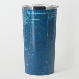 13-Miami Florida 1950, blue vintage map Travel Mug