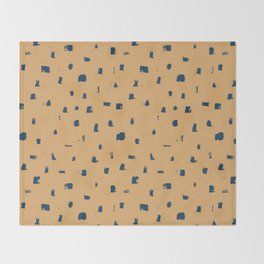 Blue spots on yellow minimalistic brushstrokes print Throw Blanket