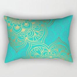 Golden cyan Rectangular Pillow