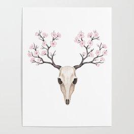 Blooming deer skull Poster