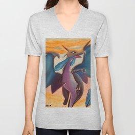 Blue dragon in sunset Unisex V-Neck