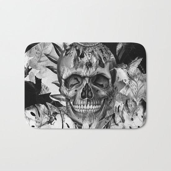 Black White Boho Skull Bath Mat