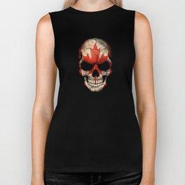 Dark Skull with Flag of Canada Biker Tank