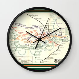 Vintage London Underground Map Wall Clock