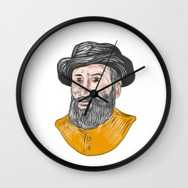 Ferdinand Magellan Bust Drawing Wall Clock