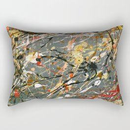Jackson Pollock Interpretation Acrylics On Canvas Splash Drip Action Painting Rectangular Pillow