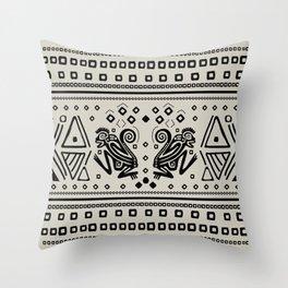 Aztec Monkeys and Ornaments - Black Throw Pillow