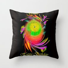 Zodiac sign Gemini   Happy Birthday Throw Pillow